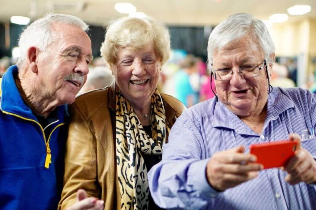 Tech Savvy Seniors ParraPals Members using iPhone
